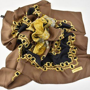 LANCEL Paris: Brown/Gold/Multicolor Silk Scarf py